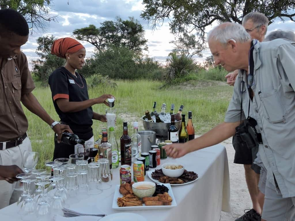 Sundowners on an African safari in the Okavango Delta, Botswana
